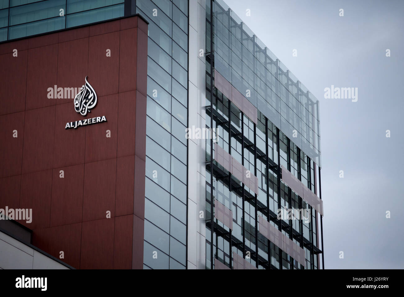 SARAJEVO, BOSNIA HERZEGOVINA - APRIL 17, 2017: Logo of the information TV Channel Al Jazeera Balkans on their headquarters - Stock Image
