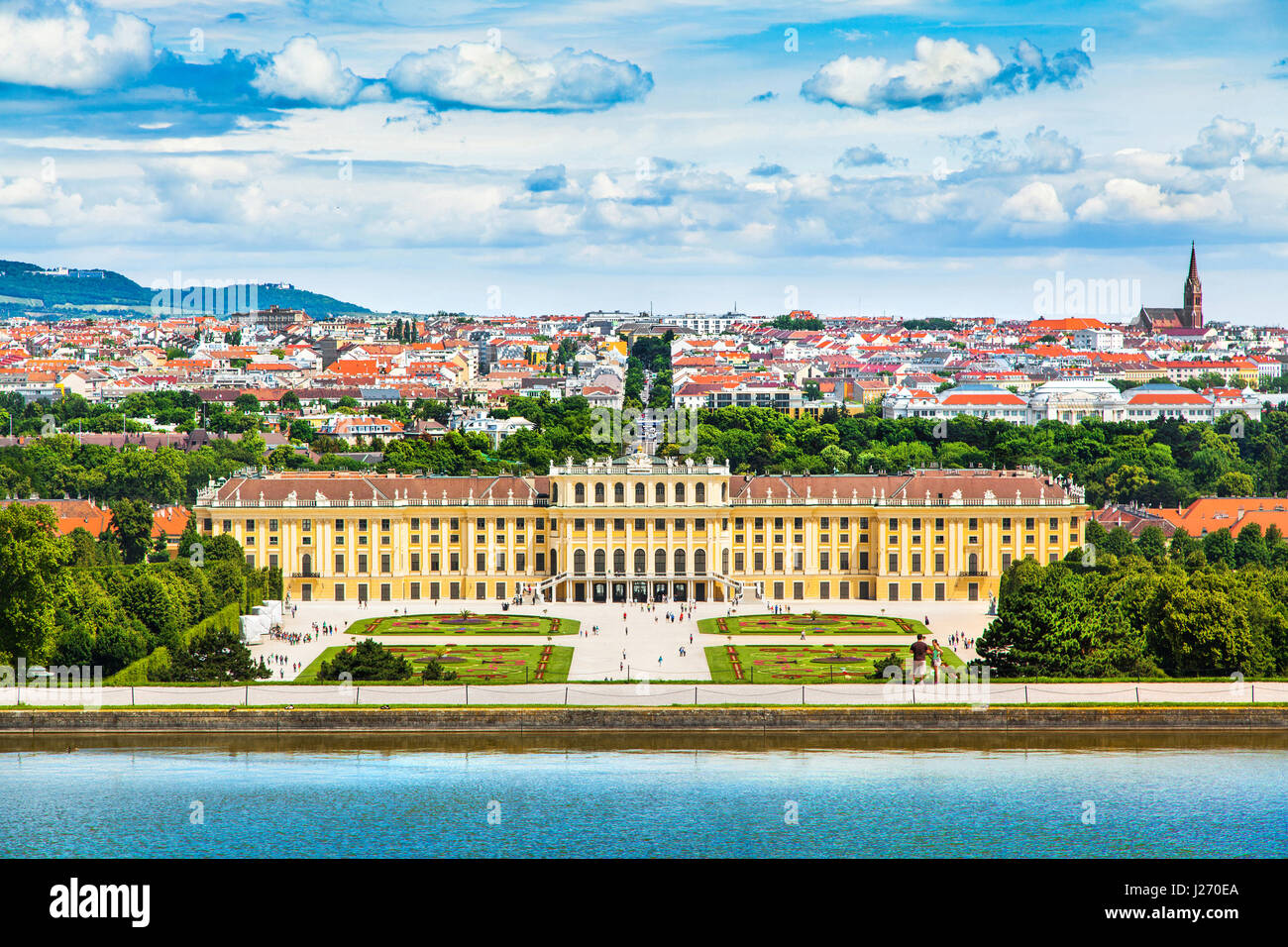 Beautiful view of famous Schonbrunn Palace with Great Parterre garden in Vienna, Austria - Stock Image