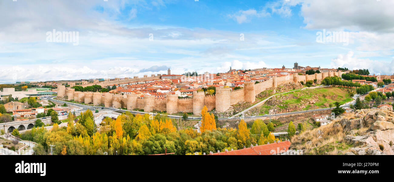 Panoramic view of the historic city of Avila, Castilla y Leon, Spain - Stock Image