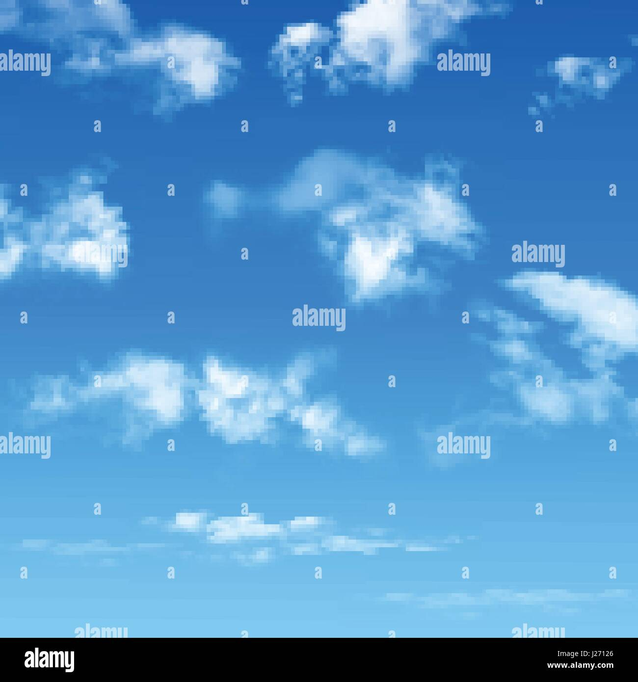 Blue sky with realistic clouds  Vector background Stock