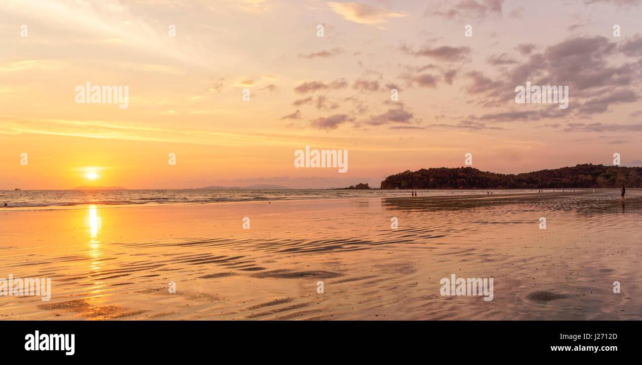 Sunset at Long Beach , Panorama,  Ao Yai, Koh Phayam, Thailand - Stock Image