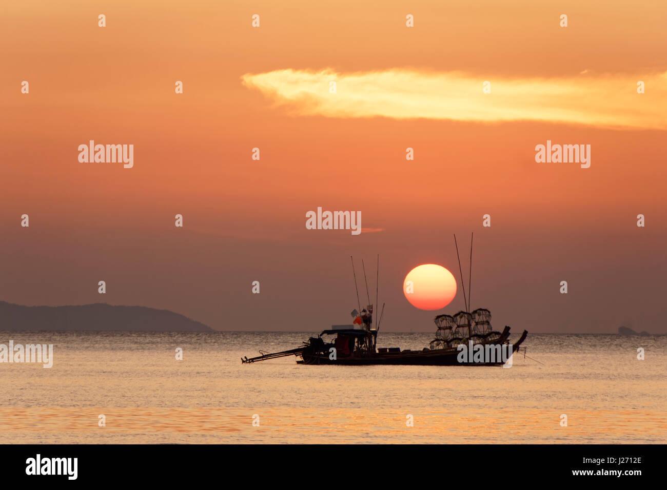 Sunset view from Buffalo Bay, Koh Phayam, Thailand - Stock Image