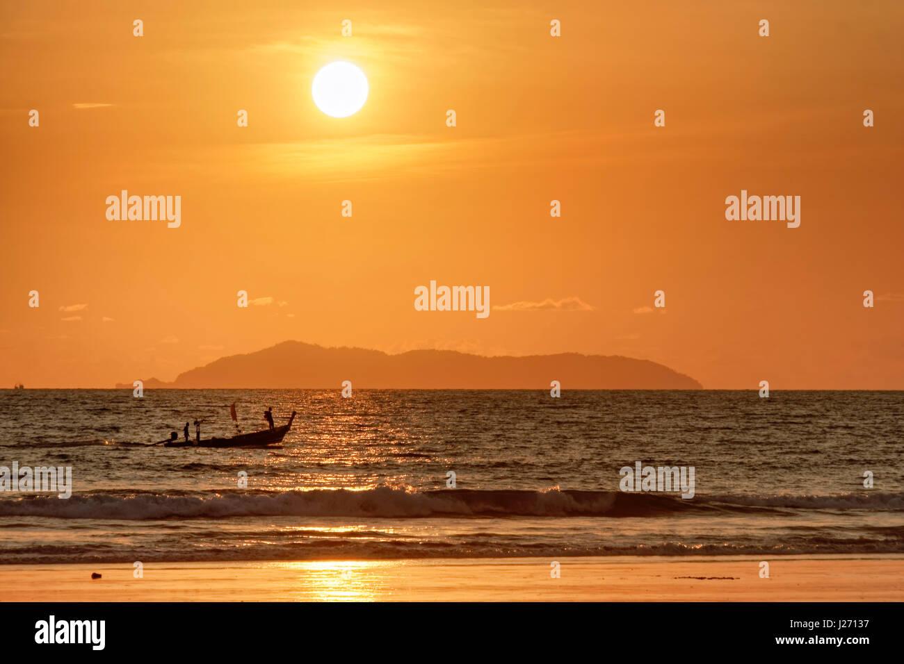 Sunset view from Long Beach in Koh Phayam Thailand towards Mergui Archipel in Myanmar, Birma, Andaman Sea - Stock Image