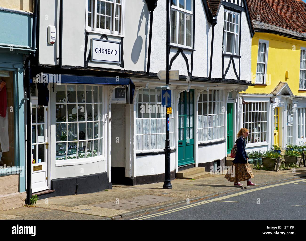 Street of old buildings in Woodbridge, Suffolk, England UK - Stock Image