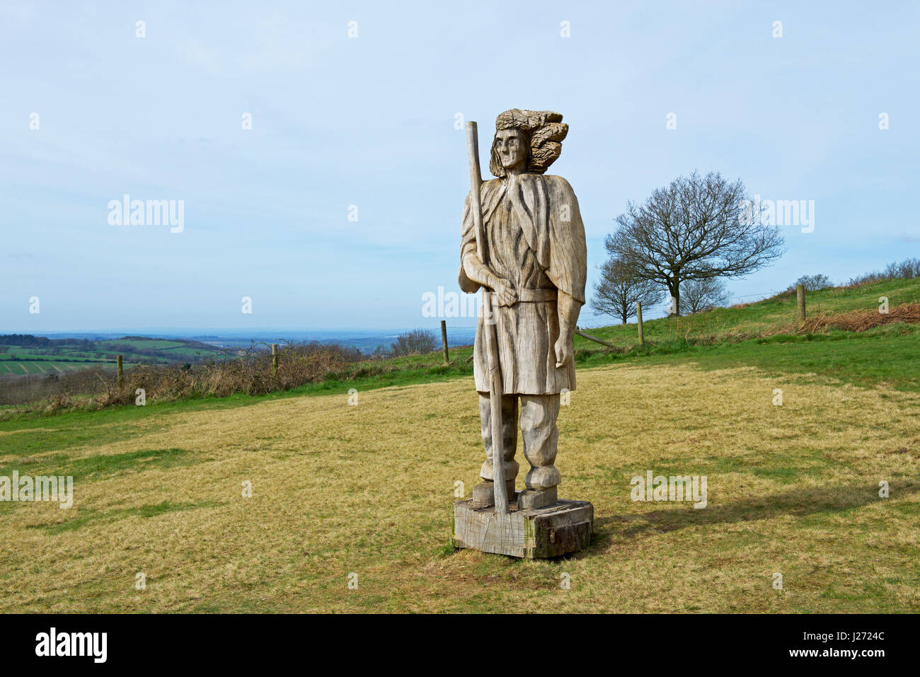 Carved wooden figure, Bradgate Park, Charnwood Forest, Leicestershire, England UK - Stock Image