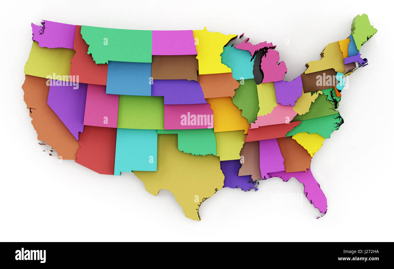 multi colored usa map showing state borders 3d illustration stock image