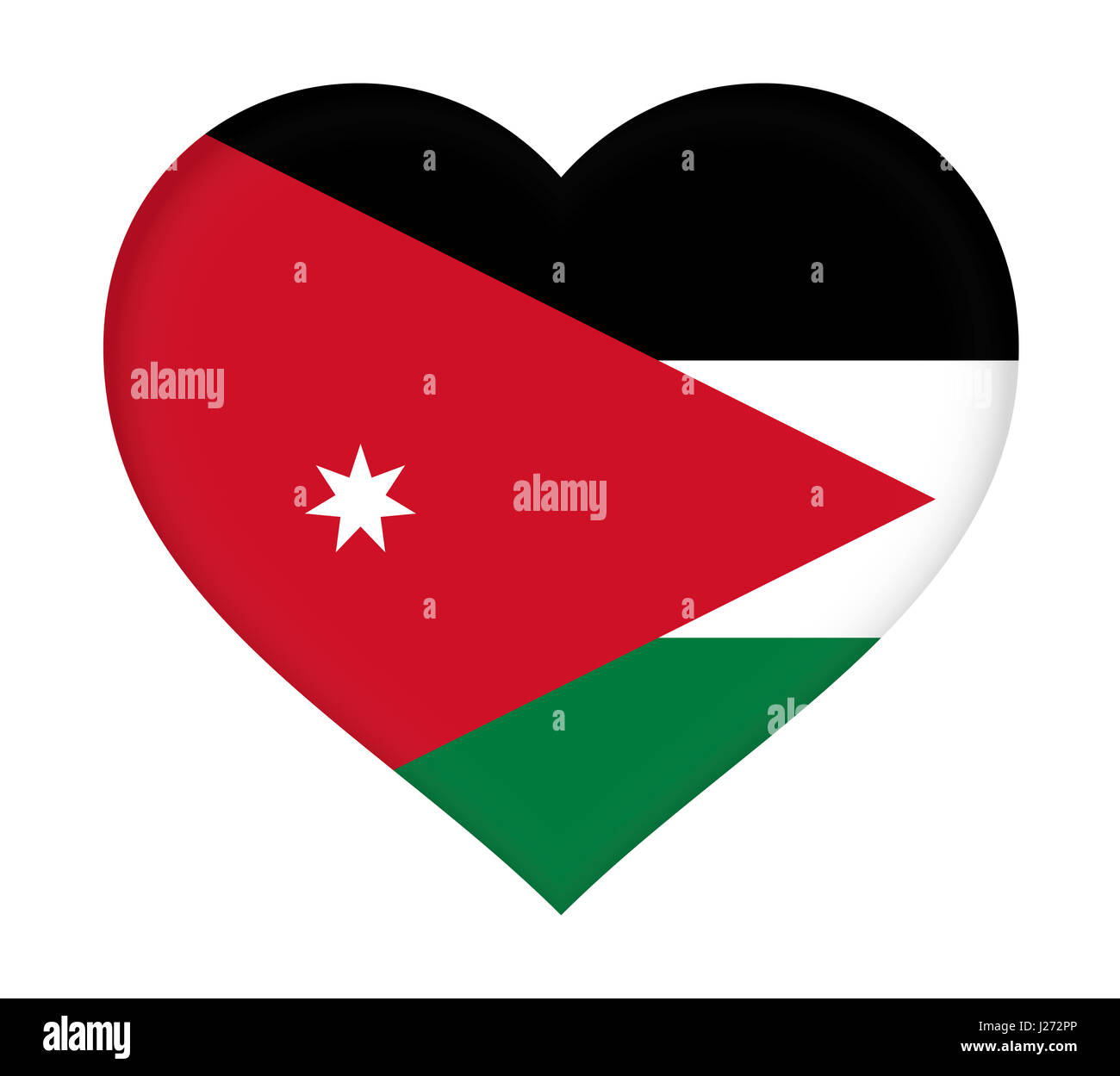 illustration of the flag of jordan shaped like a heart stock photo