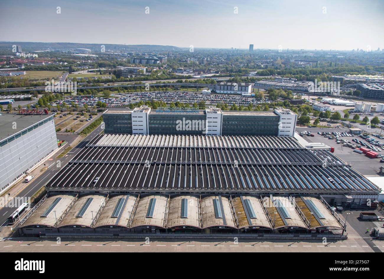 Areal view of DŸsseldorf International Airport, air cargo center, - Stock Image