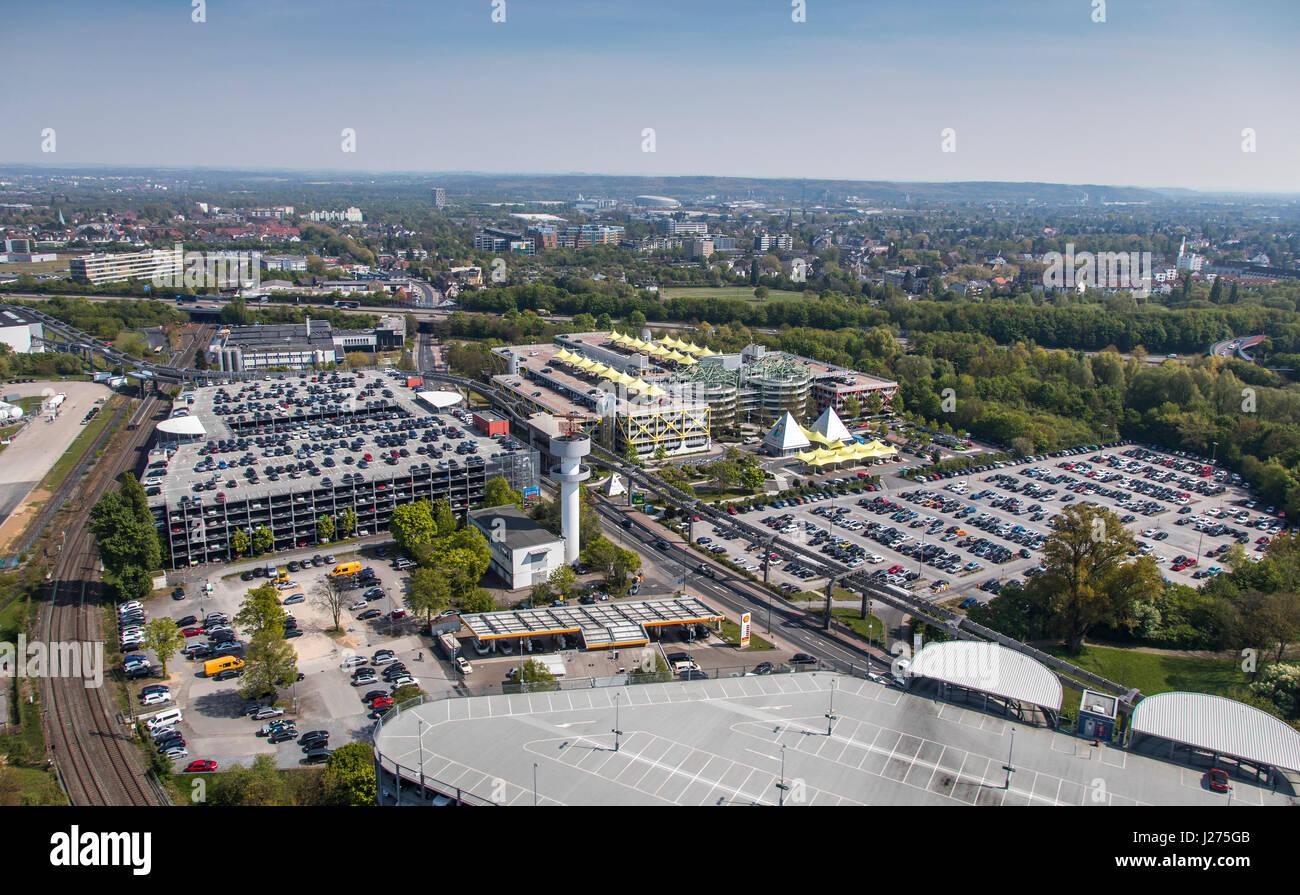 Areal view of DŸsseldorf International Airport, parking facilities, parking lots, car park, - Stock Image