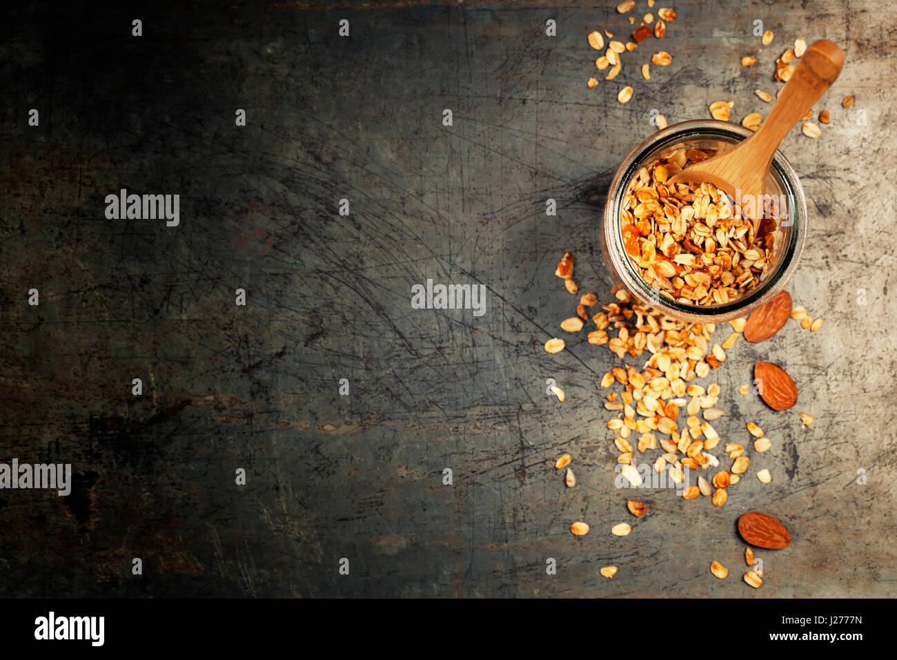 Granola. Healthy eating concept. Copy space background, top view flat lay overhead Stock Photo