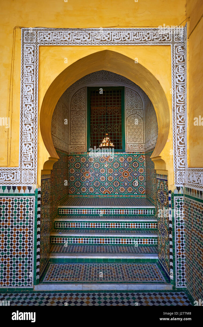 Arabesque Berber tiled niche of the Mauseleum of Moulay Ismaïl Ibn Sharif , reigned 1672–1727. A UNESCO World - Stock Image
