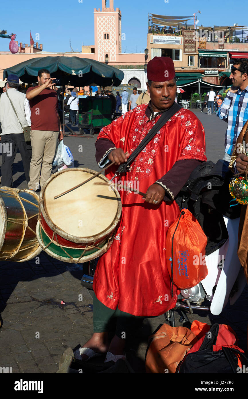 Musicians in the Jemaa el-Fnaa square in  Marrakech, Morocco - Stock Image