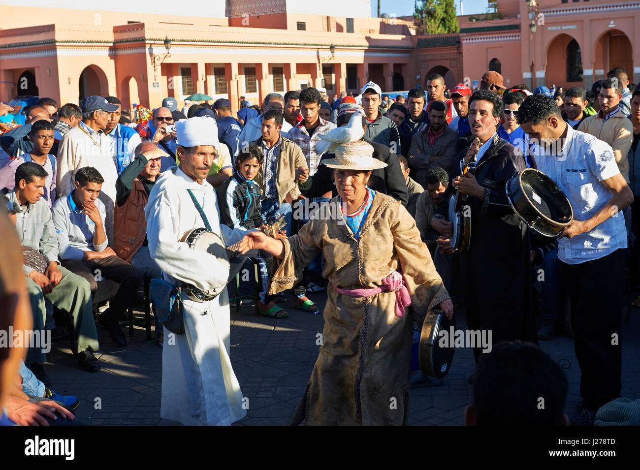 Entertainers in the Jemaa el-Fnaa square in  Marrakech, Morocco - Stock Image