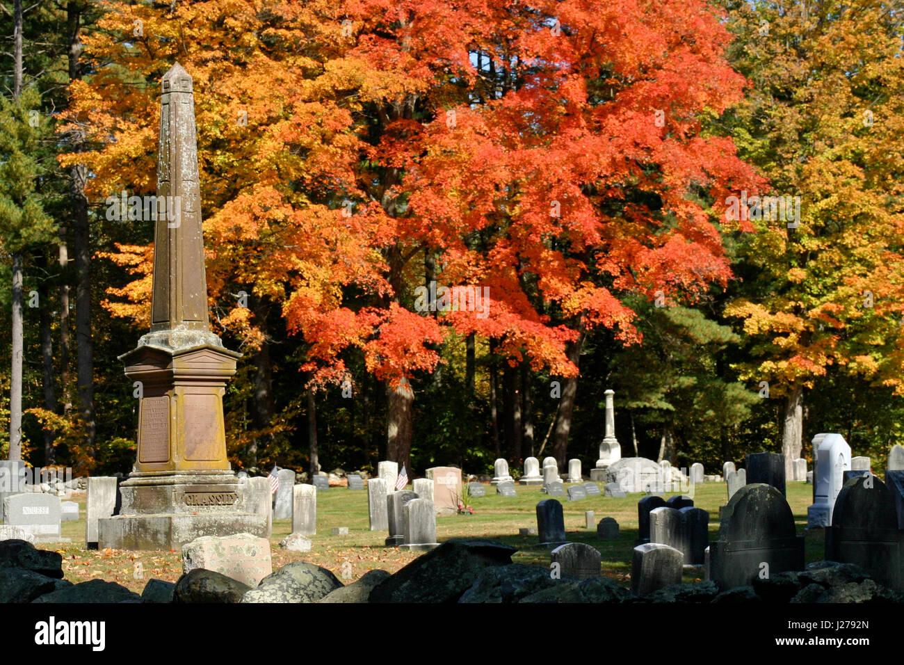 An historic New England cemetery in autumn, Bolton, Massachusetts Stock Photo