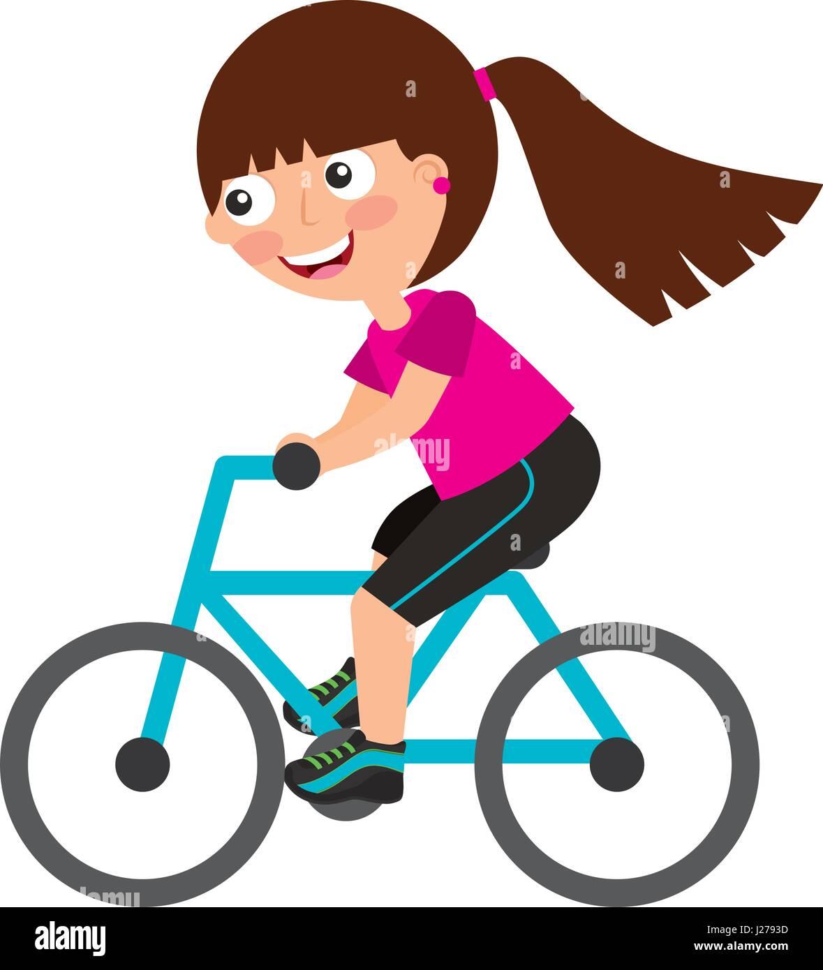 Black Kid Cartoon Riding Bike
