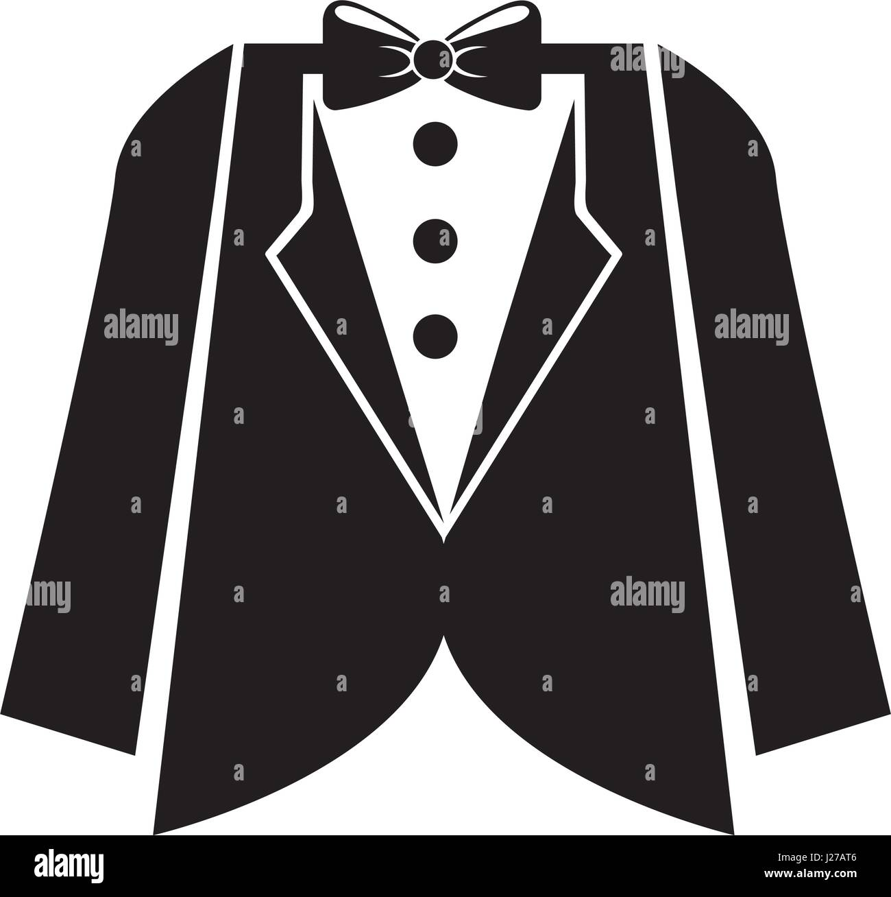 elegant masculine suit clothes icon - Stock Image