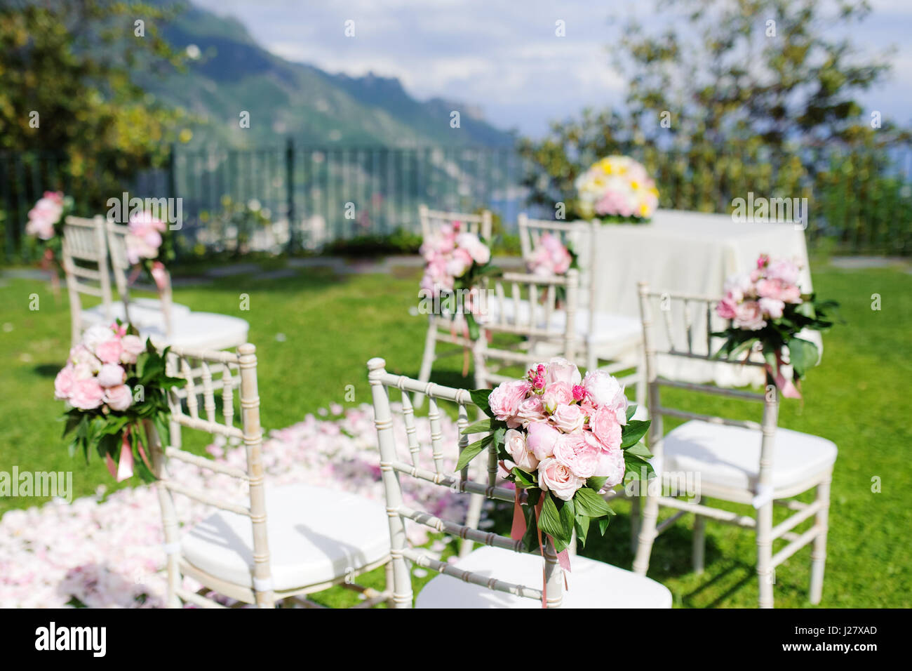 Wedding Ceremony Set Up In Ravello Amalfi Coast Italy