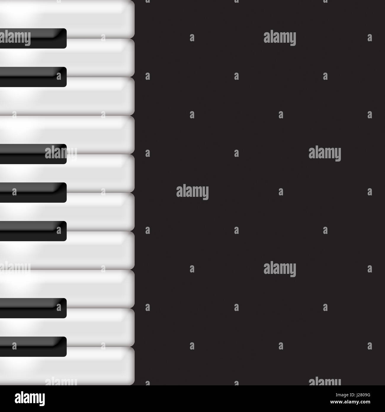 Musical black and white keyboard piano against a dark background. - Stock Image