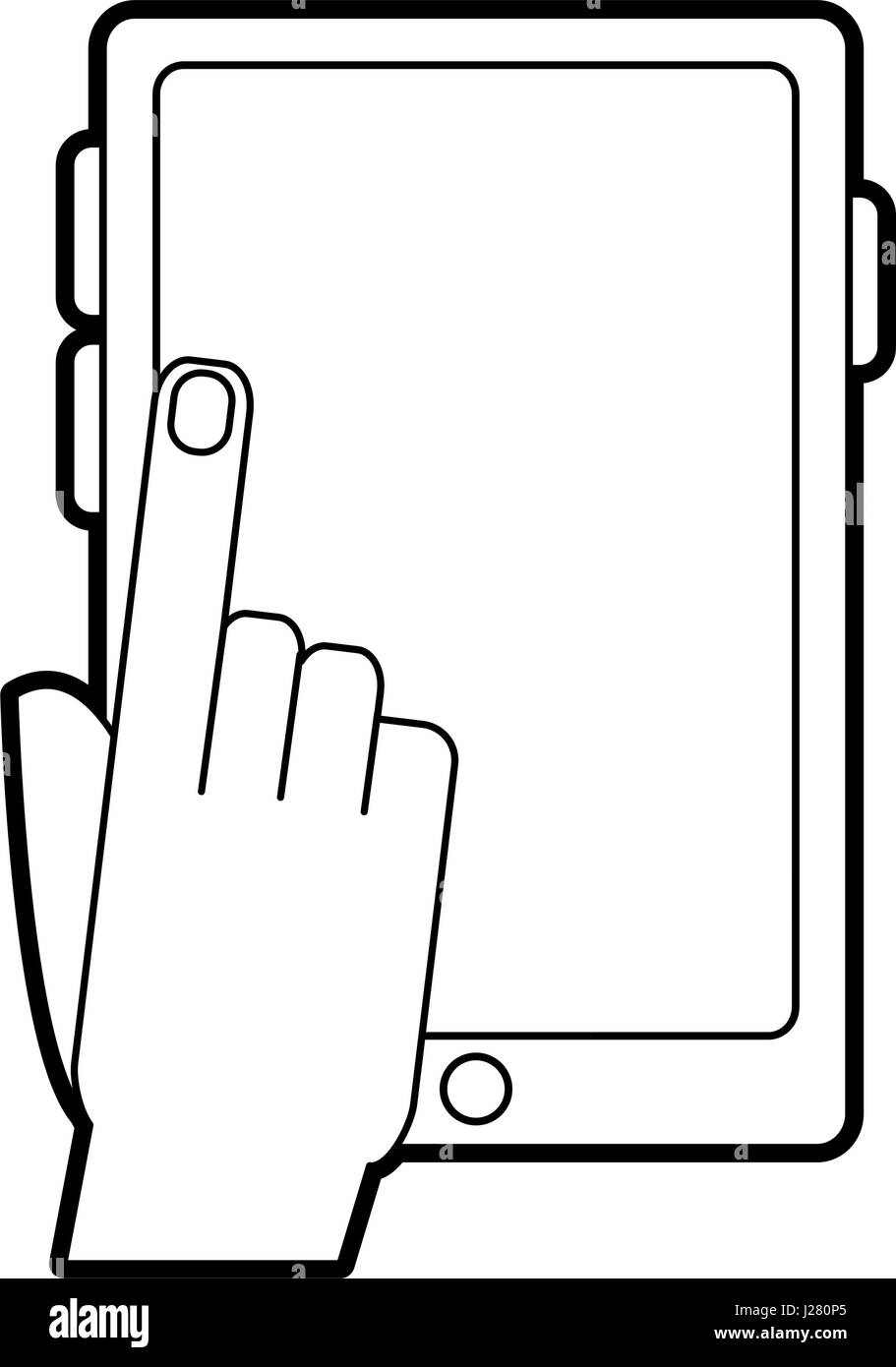 hand tapping modern cellphone with blank screen icon image  - Stock Image