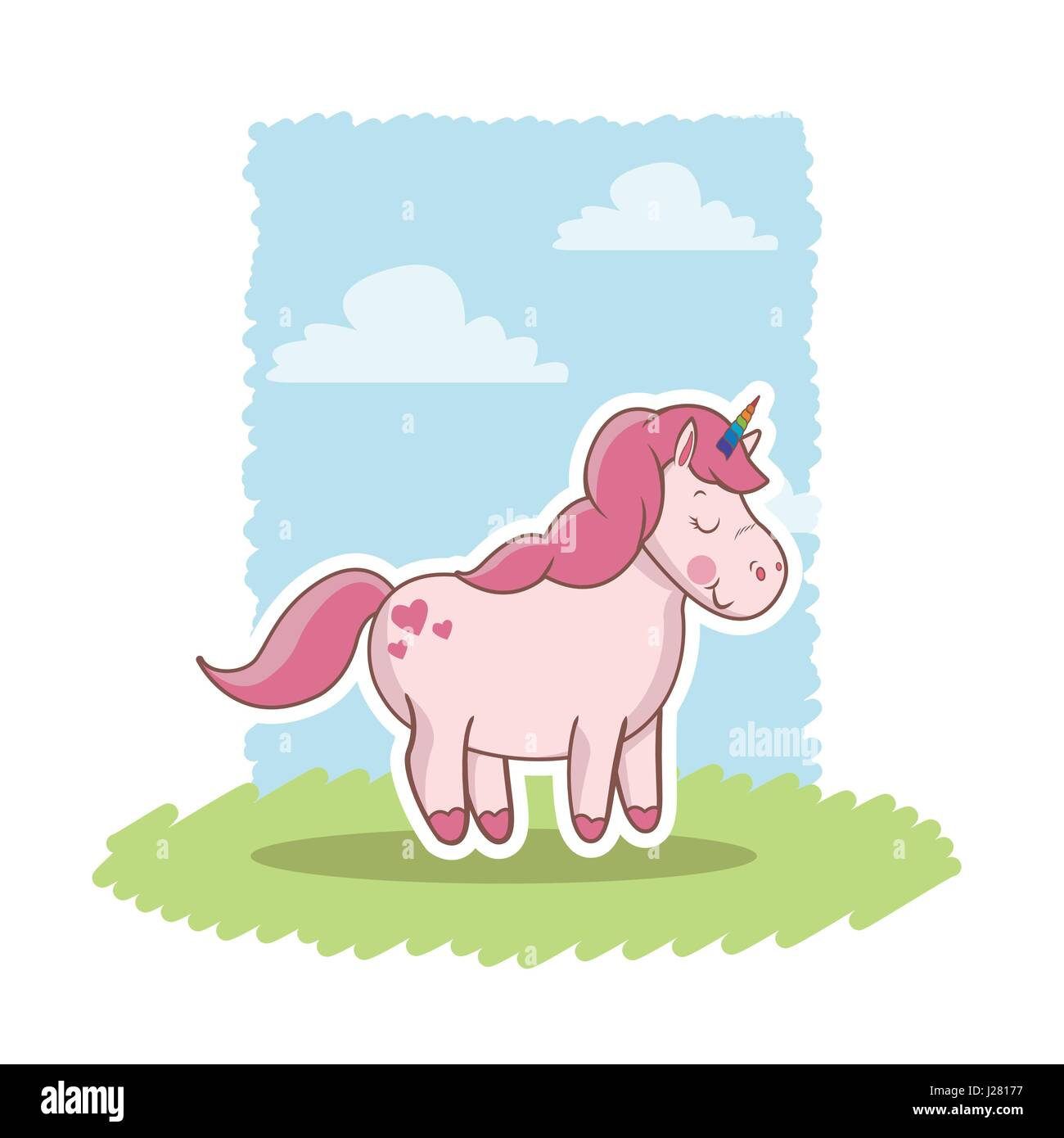 pink unicorn standing wings happy decoration landscape Stock Vector