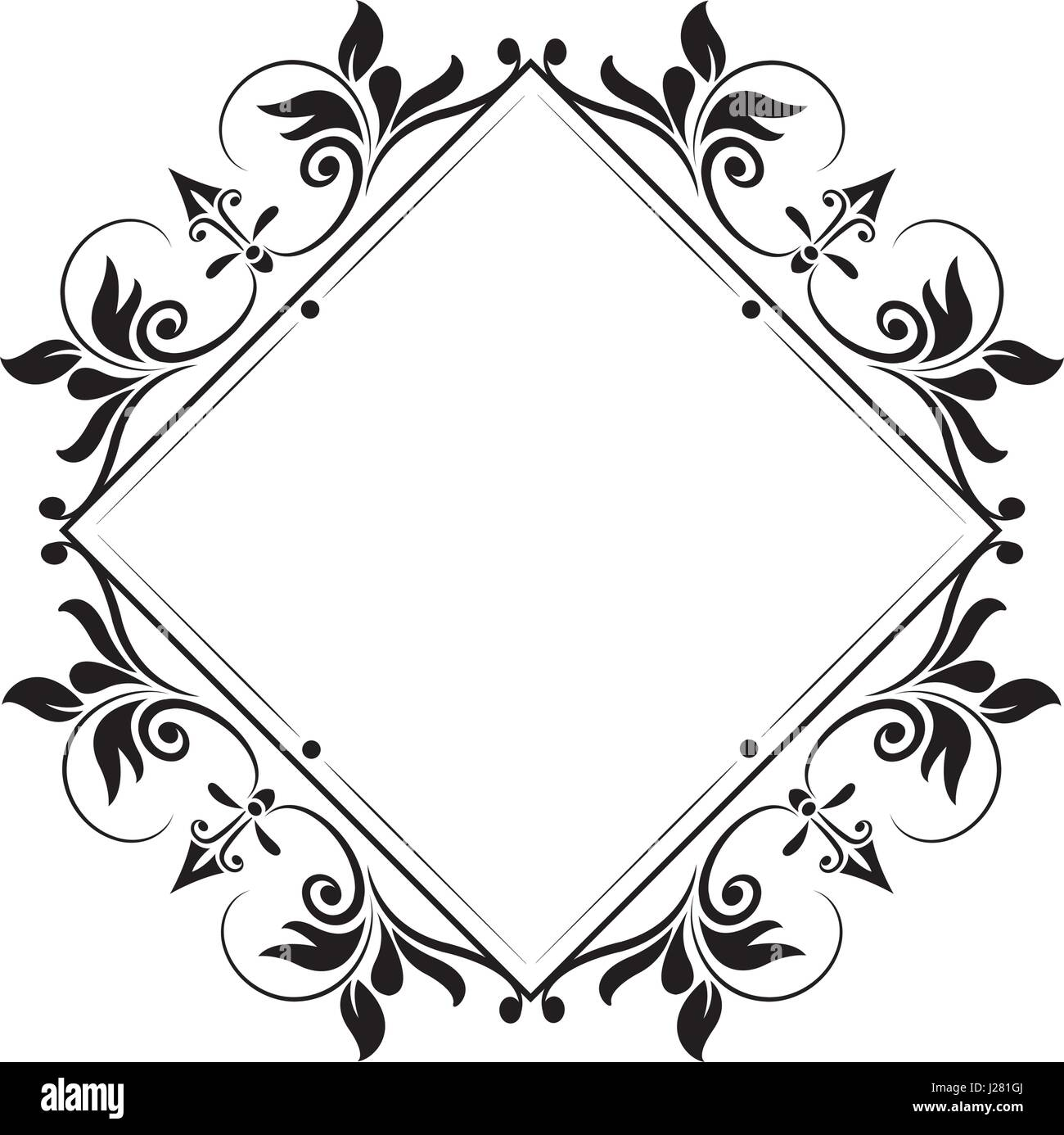 decorative frame vintage elegant flourish image - Stock Image