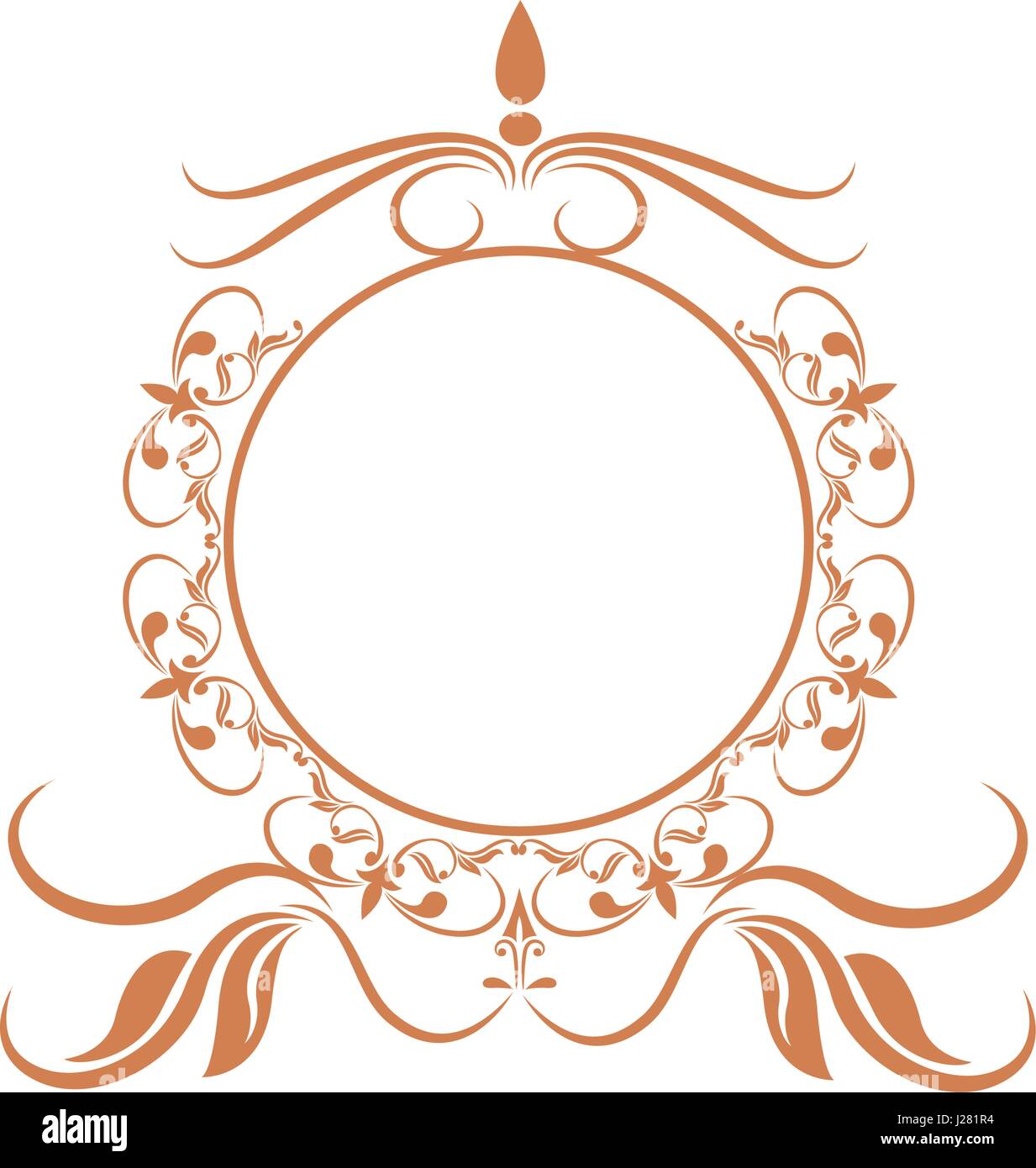 elegant round decorative frame flourish calligraphy golden Stock ...