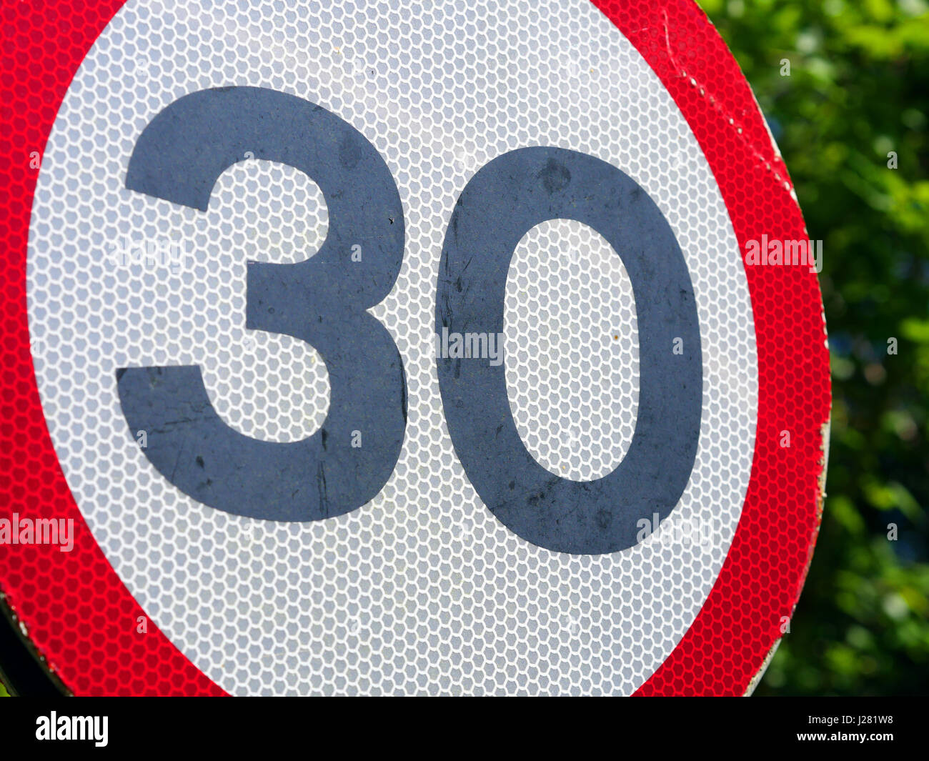 30 mph sign UK GB - Stock Image