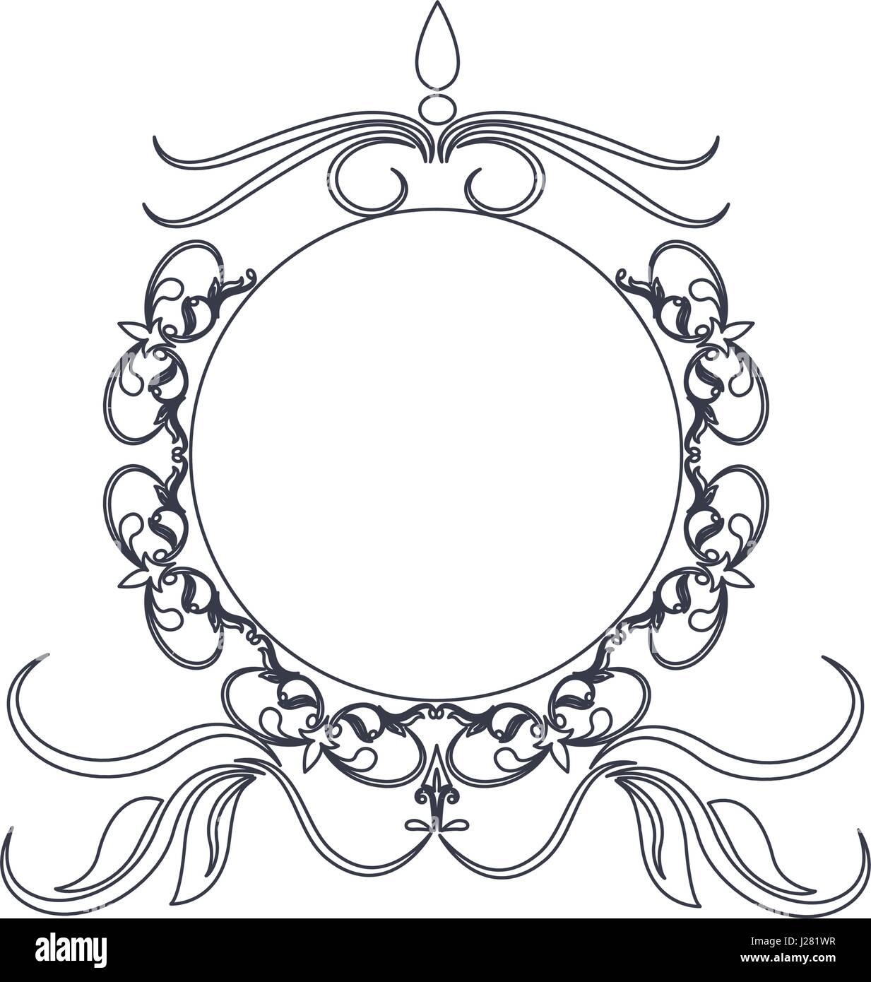 round decorative frame flourish calligraphy monochrome Stock Vector ...