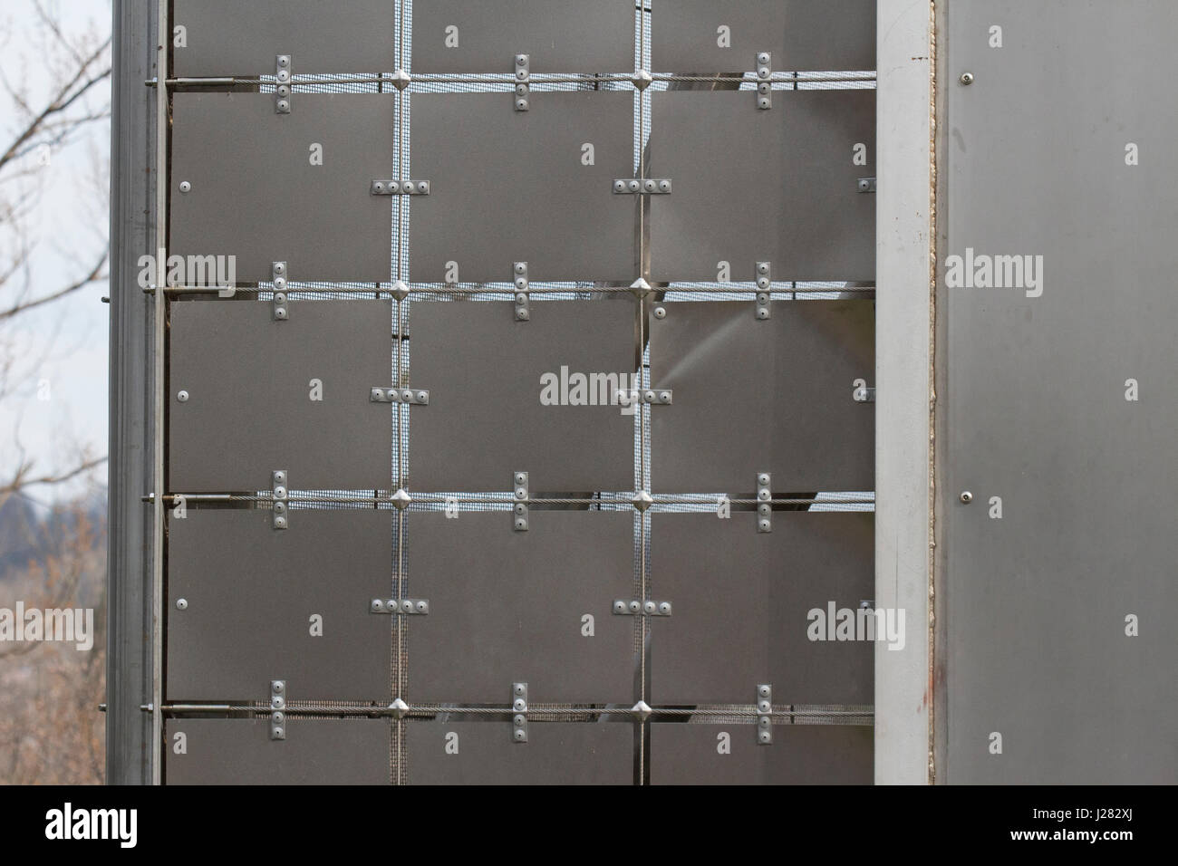 Metal plates joined together with wire and fasteners. Public art ...