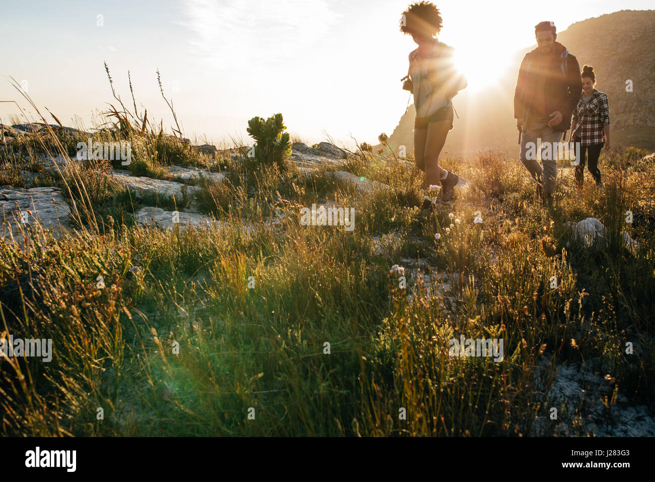 Group of young people on country walk on a sunny day. Young men and women hiking in countryside. - Stock Image