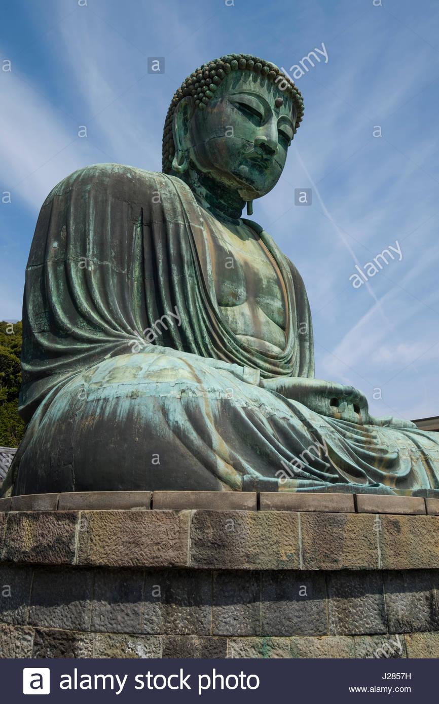 The Great Buddha of Kamakura, a monumental outdoor bronze statue of Amitābha Buddha, Kōtoku-in Buddhist temple, - Stock Image
