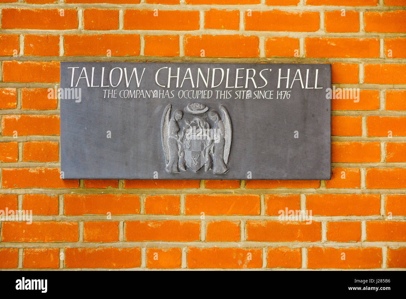 Name sign on the wall of the headquarters of the Worshipful Company of Tallow Chandlers (Tallow Chandlers Company), - Stock Image