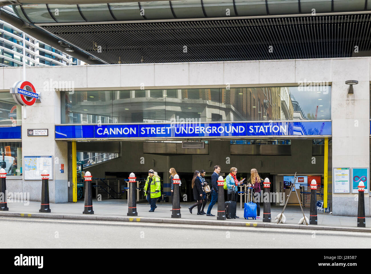 Public transport: entrance to Cannon Street Underground Station on the Circle and District Lines, Dowgate Hill, - Stock Image