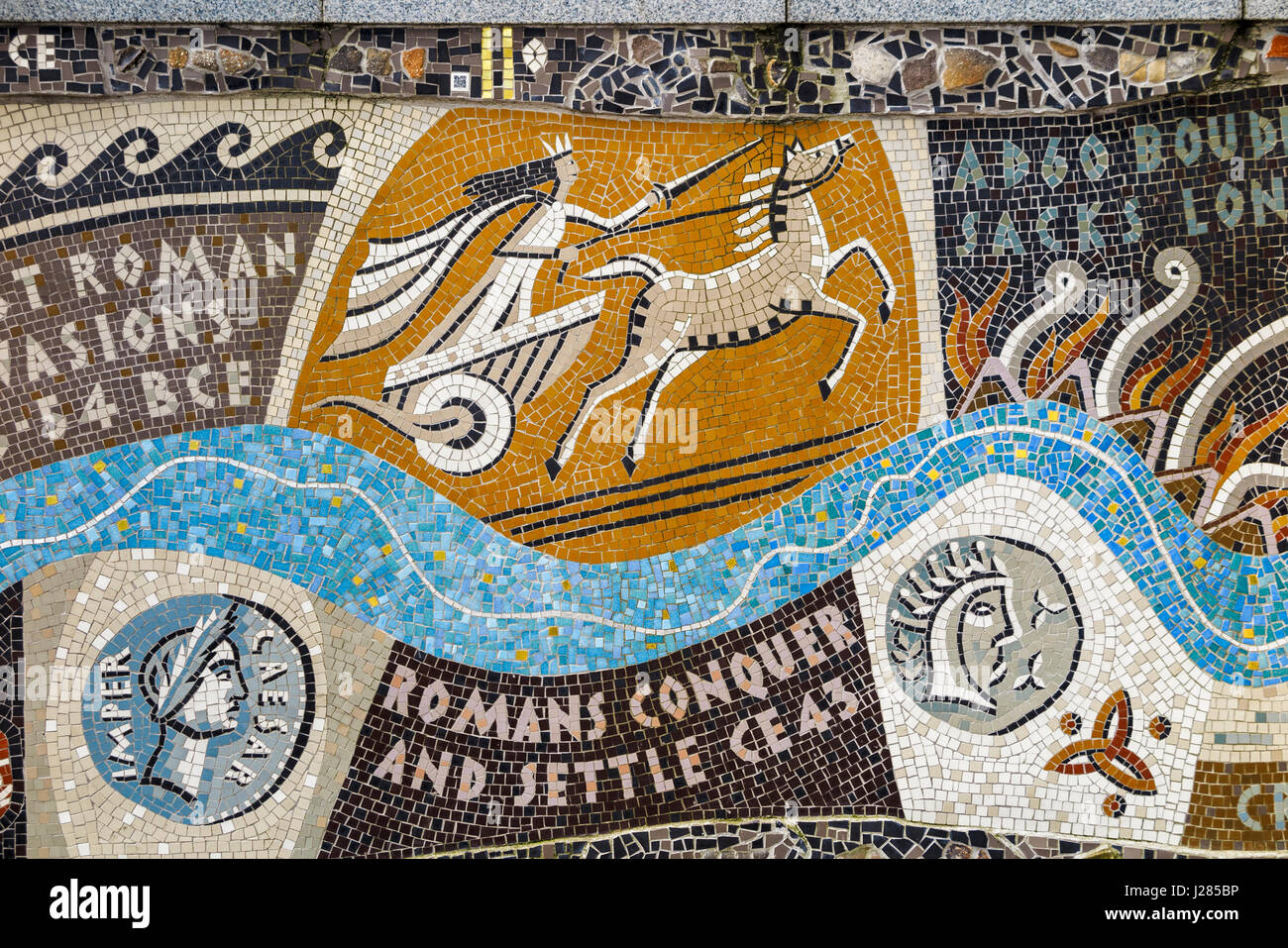 Detail of Queenhithe Mosaic (Queen Boudica or Boadicea riding her chariot) on Riverside Walk, London EC4, commemorating - Stock Image