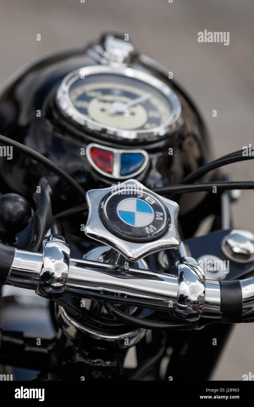LUDWIGSBURG, GERMANY - APRIL 23, 2017: BMW oldtimer motorcycle at the eMotionen event on April 23, 2017 in Ludwigsburg, - Stock Image
