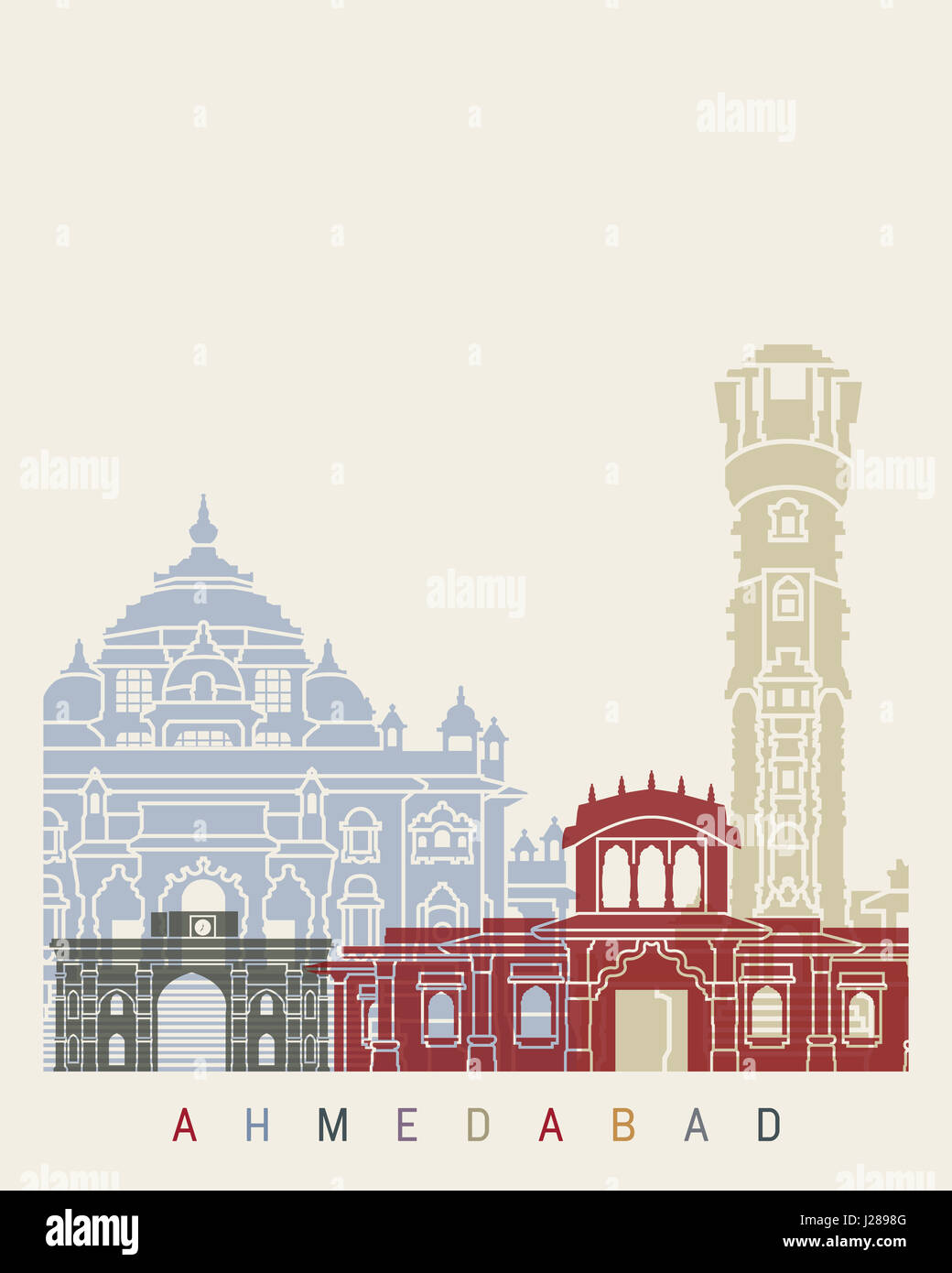 Ahmedabad skyline poster in editable vector file - Stock Image