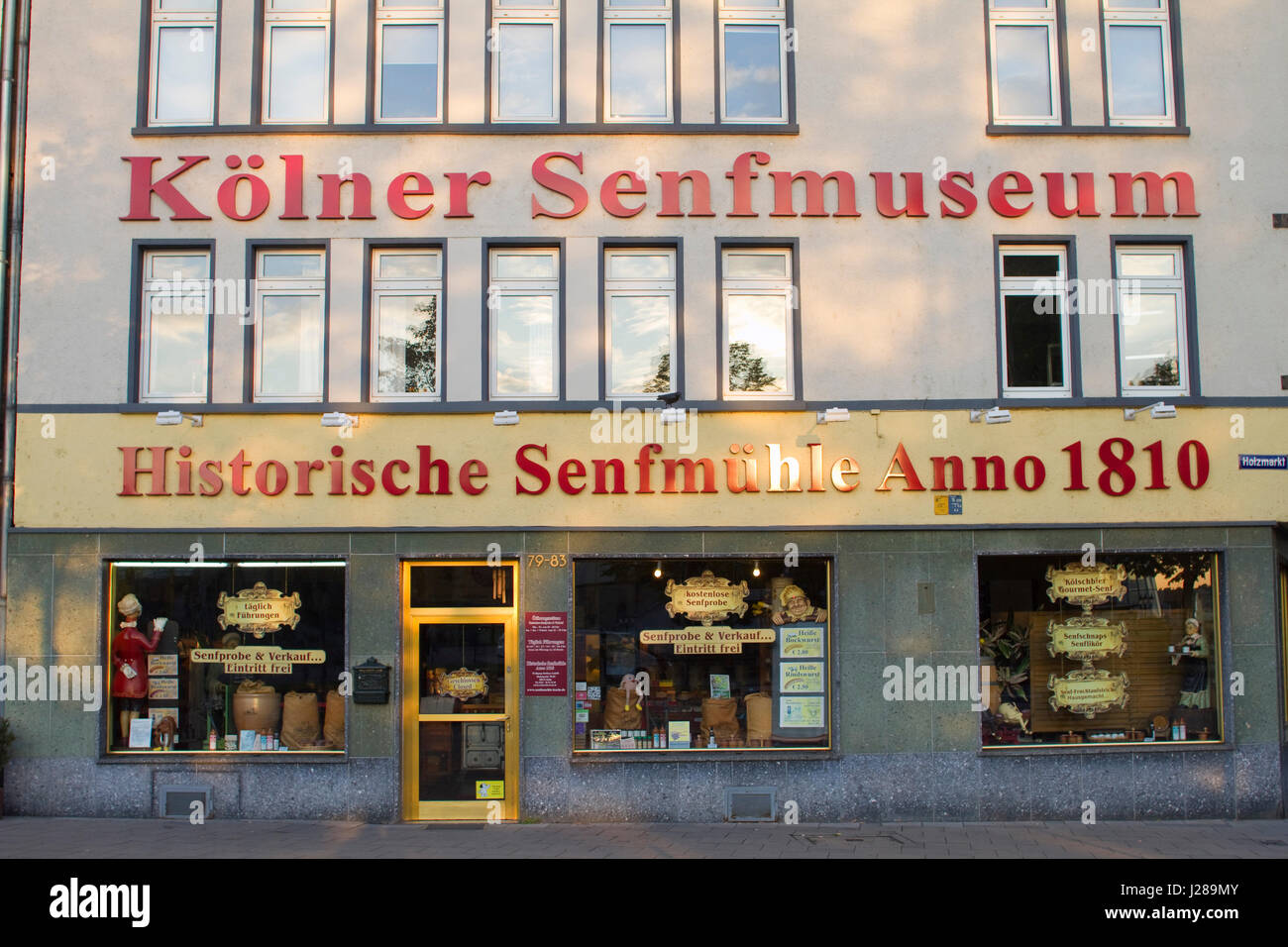 Germany, Cologne, shop of gastronomic specialities based on mustard Stock Photo