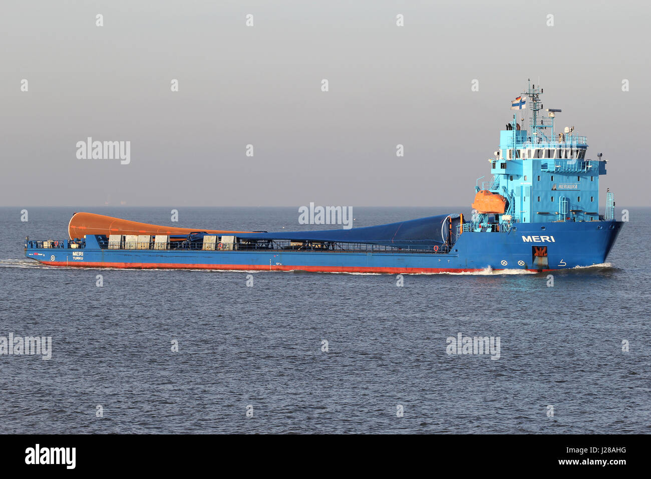 Finnish special purpose vessel MERI on the river Elbe. This ship is known to be the first cargo ship of this size, Stock Photo