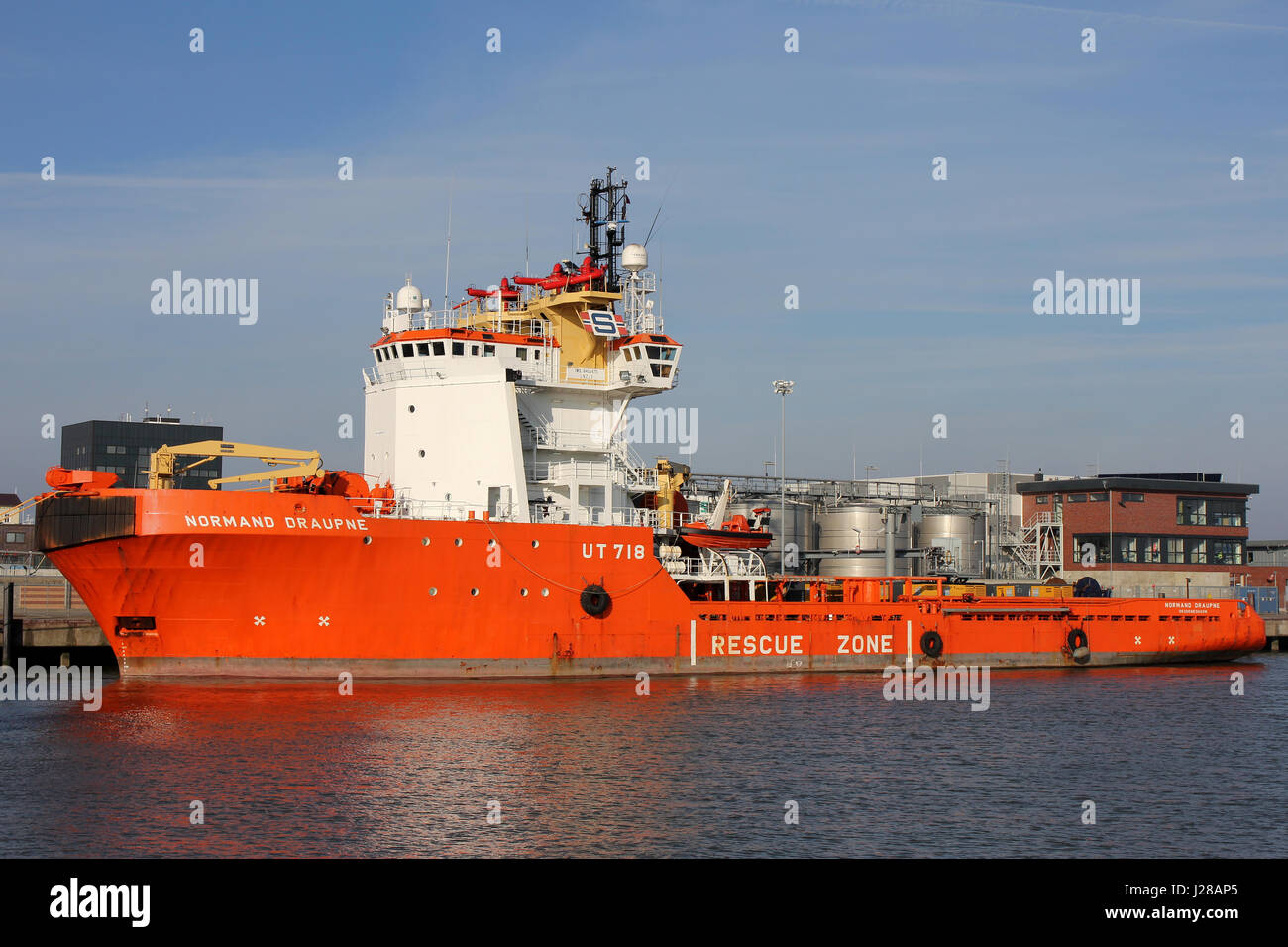 NORMAND DRAUPNE operated by Solstad Offshore in the port of Cuxhaven. This is an anchor handling tug and supply Stock Photo