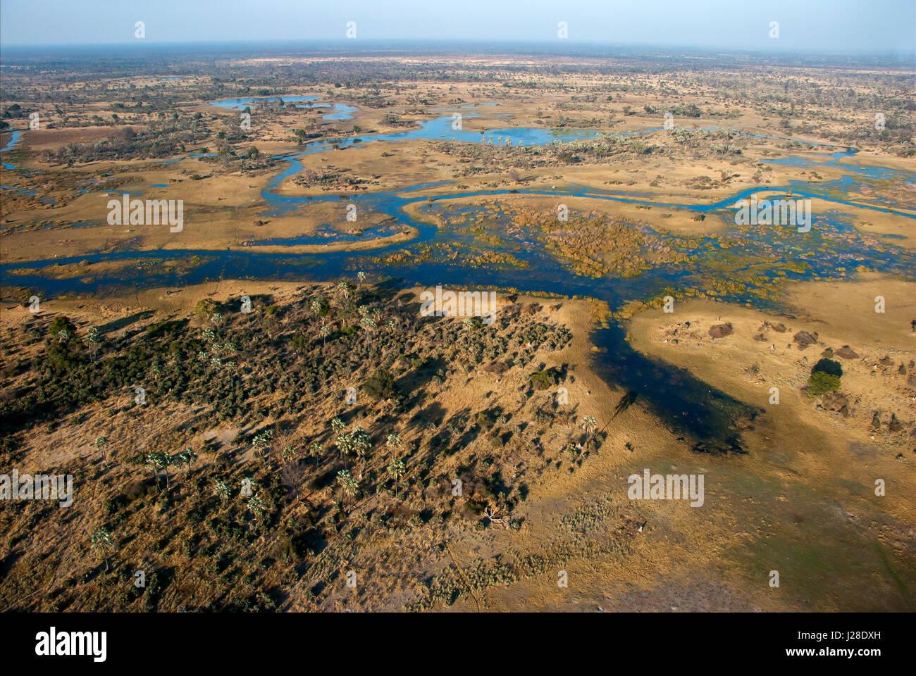 Aerial view of the Okavango Delta, Botswana - Stock Image