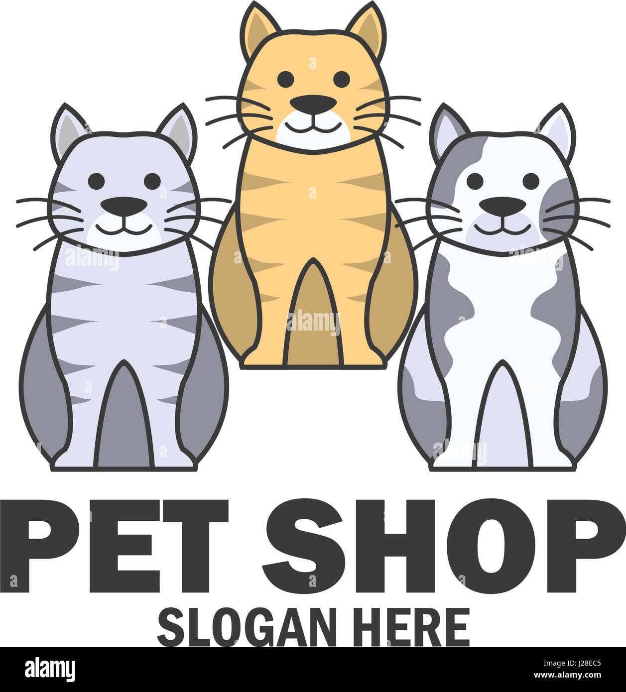 pets shop, pets care, pets lover logo with text space for your slogan / tagline, vector illustration - Stock Vector