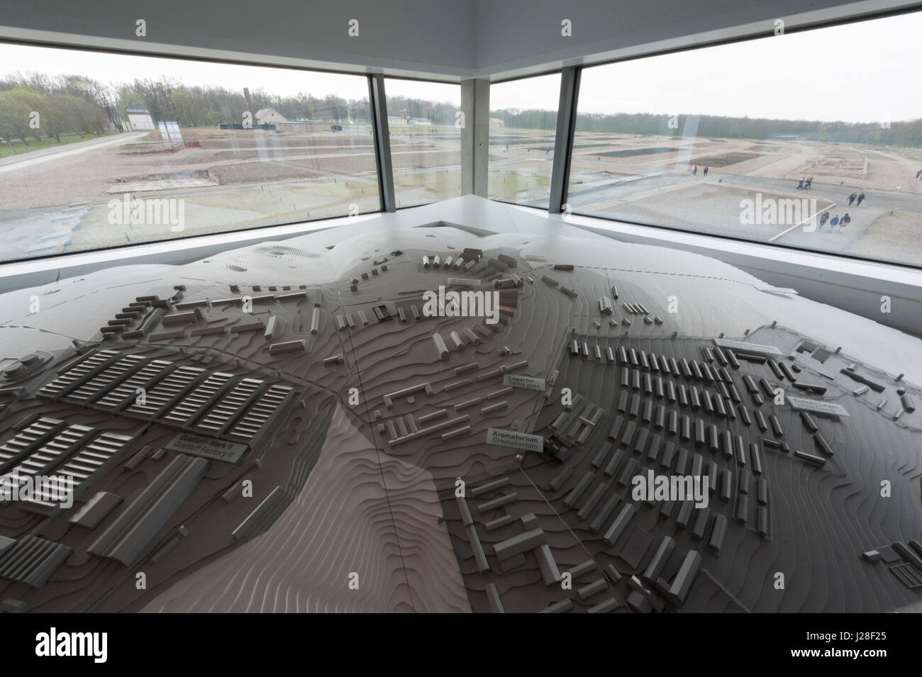 A scale model of Buchenwald concentration camp overlooking the camp area. - Stock Image