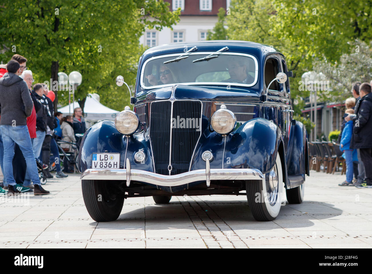 LUDWIGSBURG, GERMANY - APRIL 23, 2017: Ford oldtimer car at the eMotionen event on April 23, 2017 in Ludwigsburg, - Stock Image