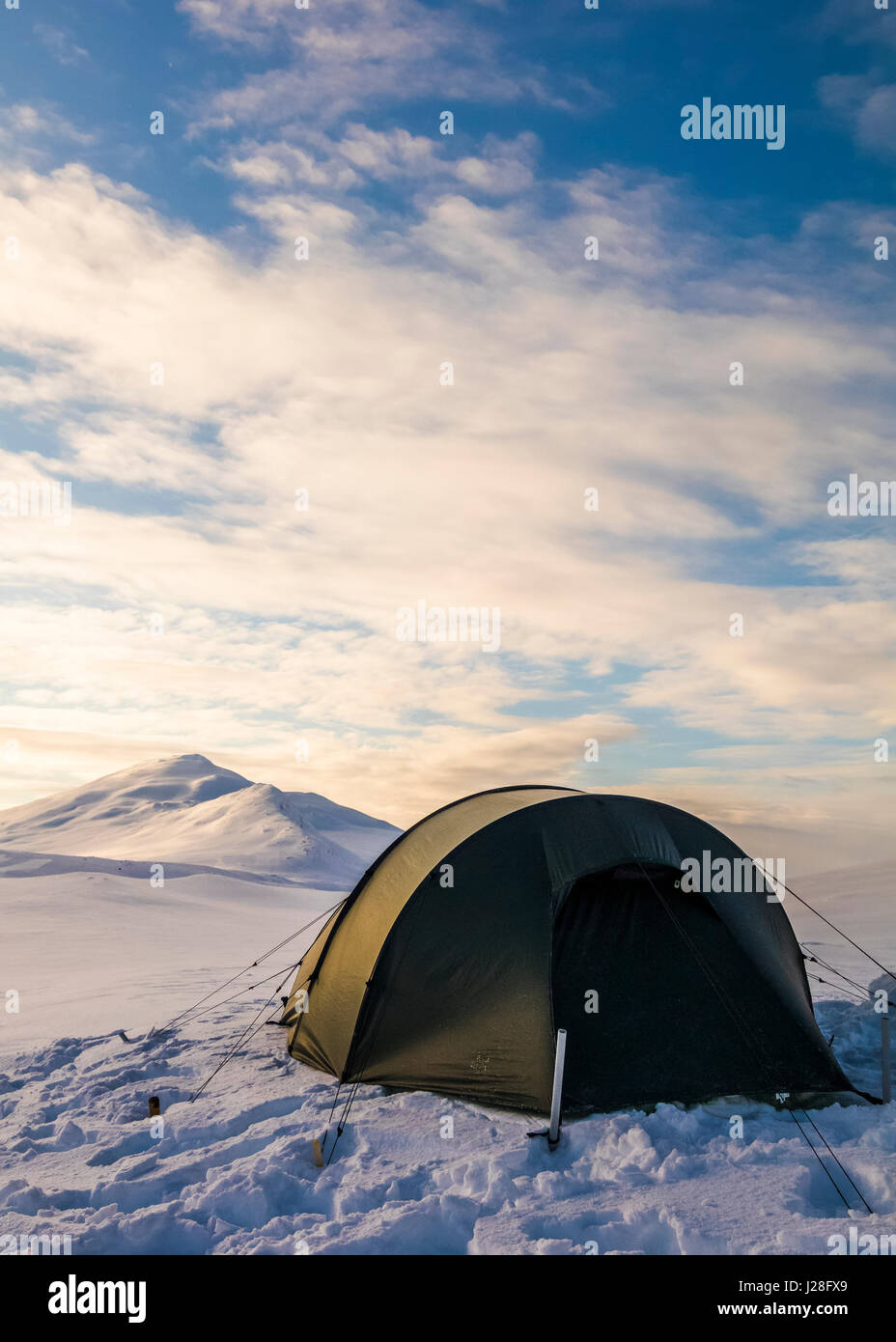Tunnel tent in Sarek national park - Stock Image