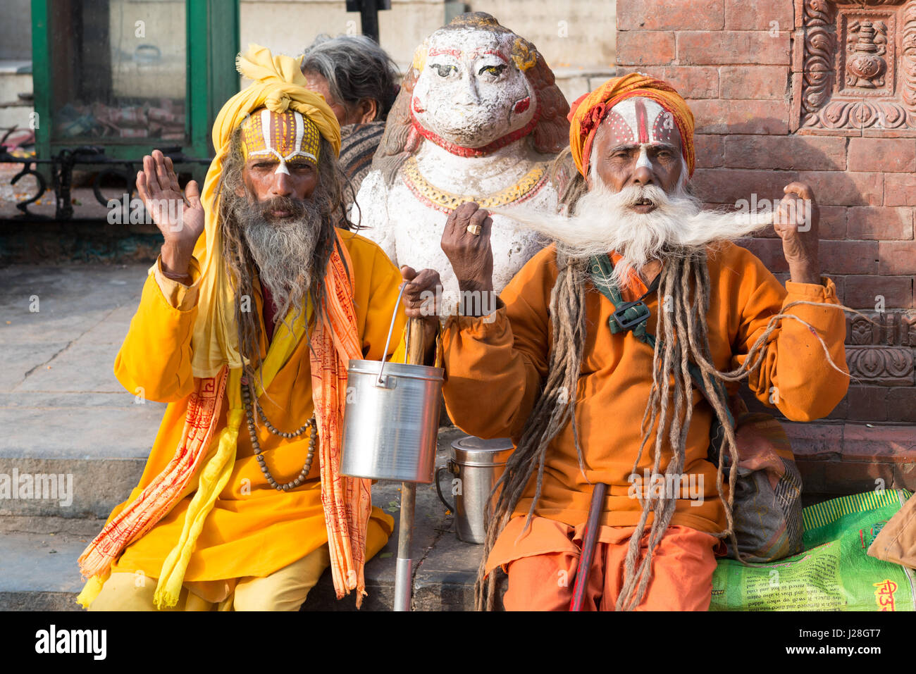 Nepal, Central Region, Kathmandu, Bearded Sadus at Durbar Square in Kathmandu Stock Photo