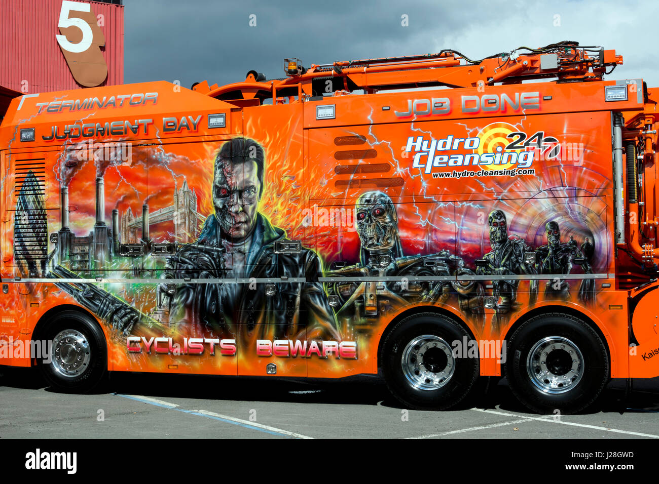 Terminator Judgment Day artwork on a Kaiser Whale tanker vehicle at the Commercial Vehicle Show, NEC, Birmingham, - Stock Image