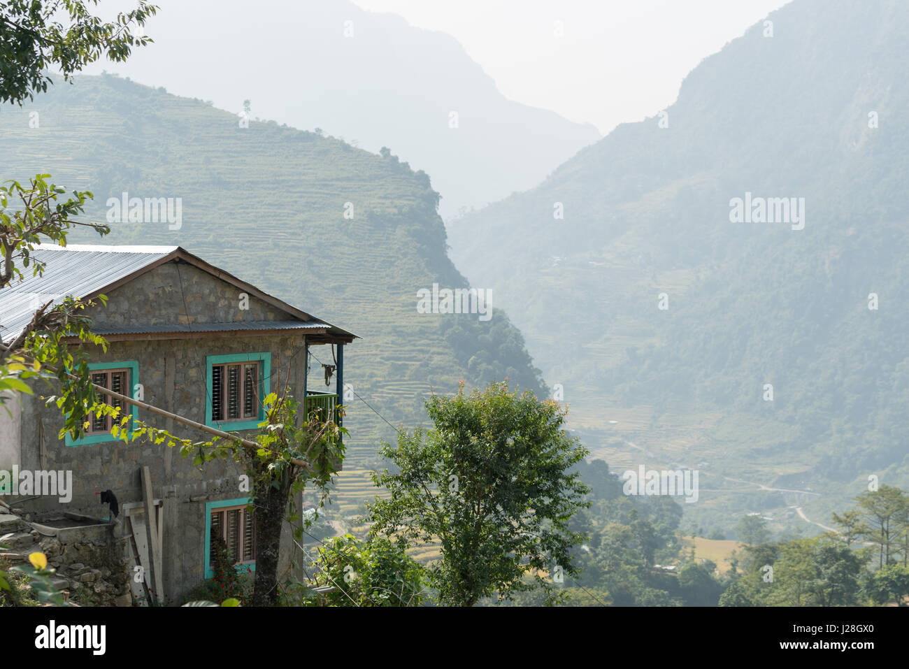 Nepal, Western Region, Bahundanda, On the Annapurna Circuit - Day 1 - Bhulbhule to Jagat - Naturalness of the house Stock Photo