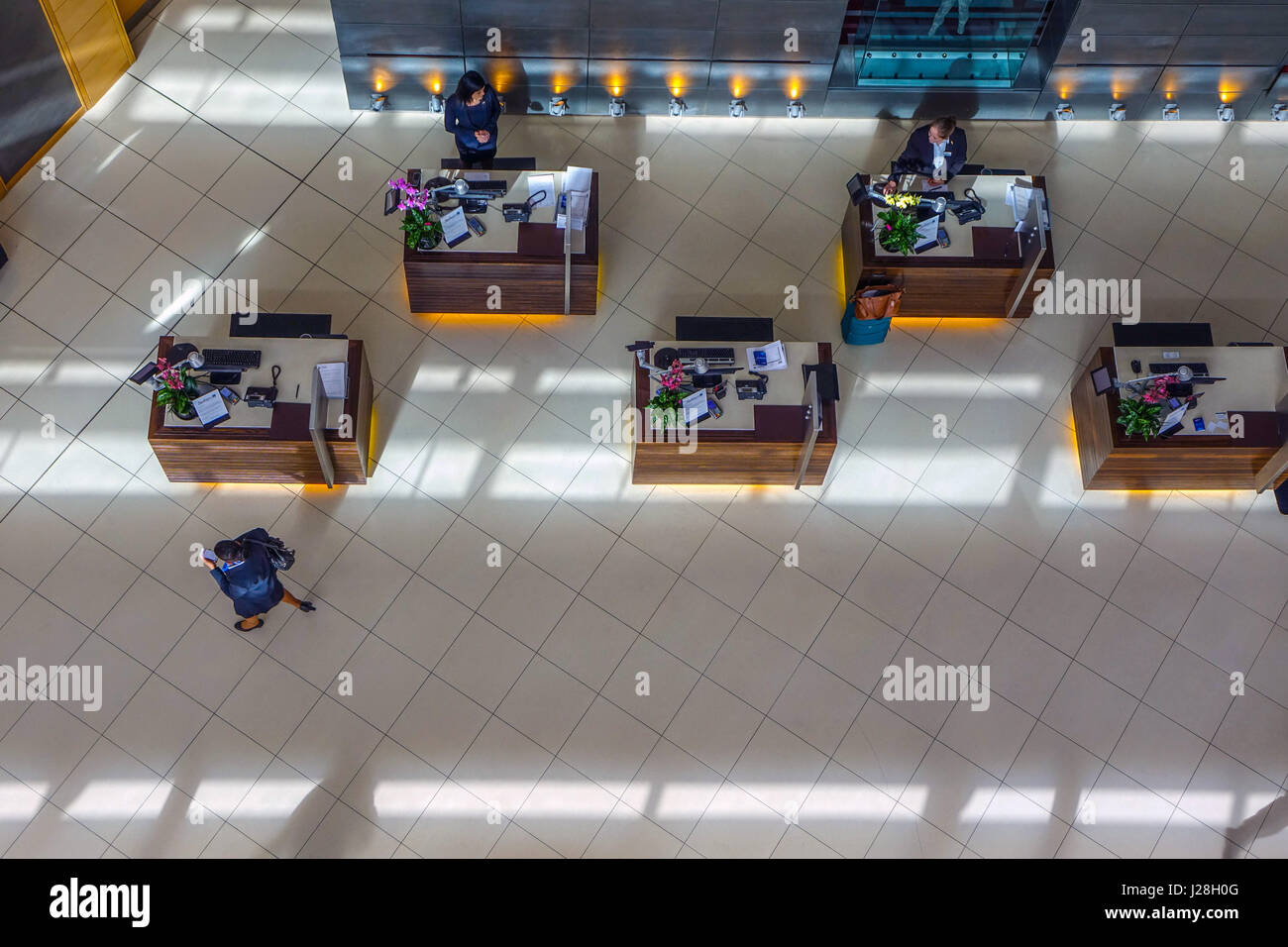 Reception desk area at Radisson Blu Airport hotel at London Stansted airport seen from above Stock Photo