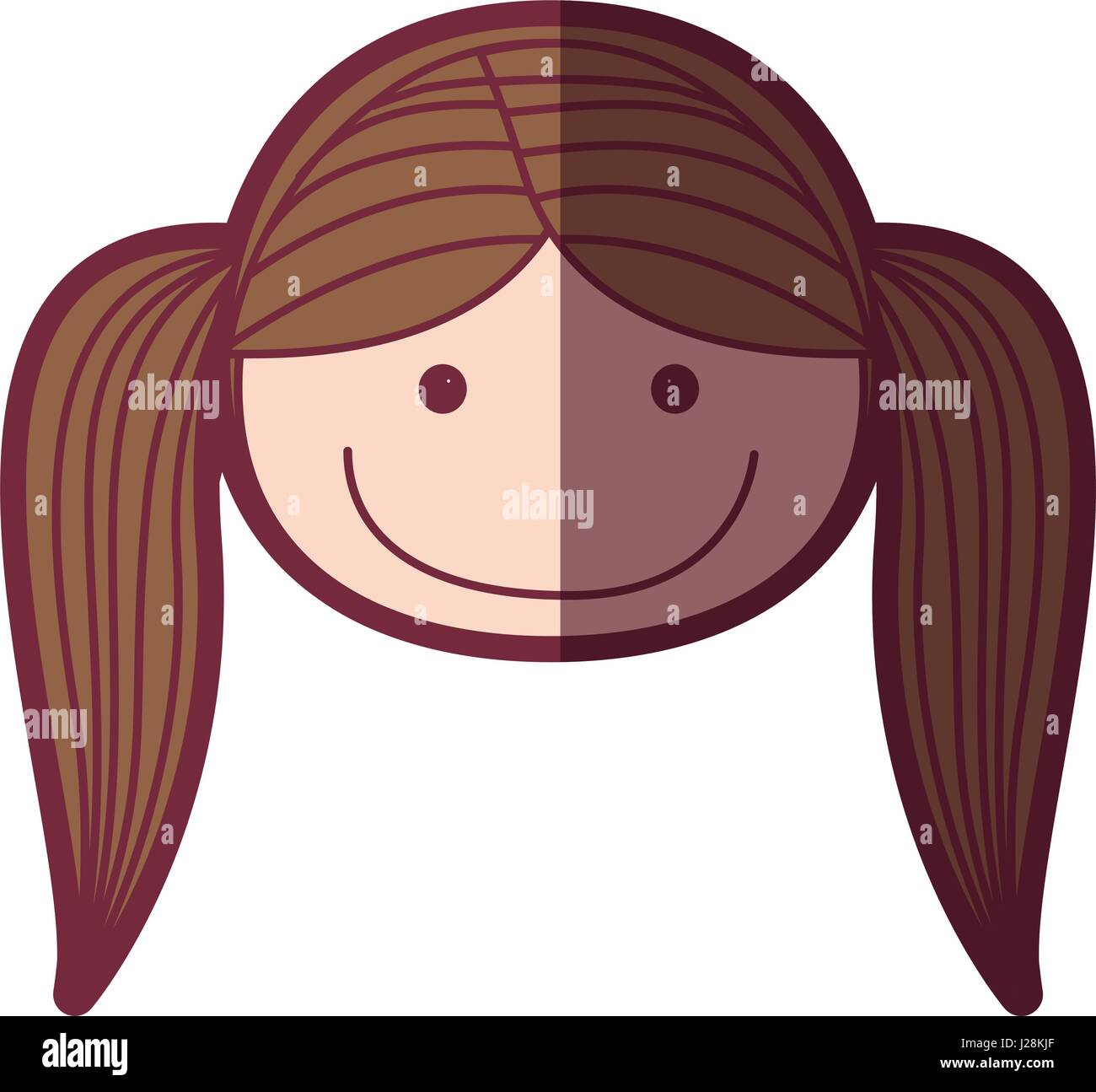 Color Silhouette Shading Cartoon Front Face Girl With Pigtail Hair
