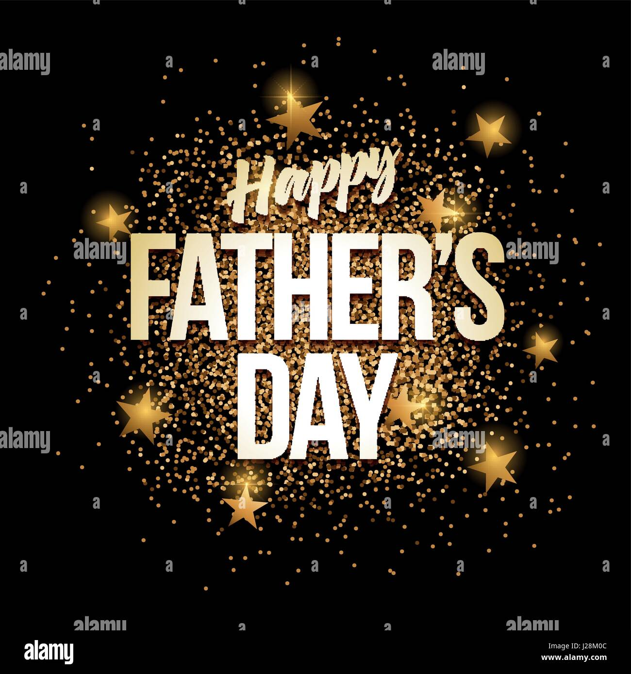 Happy Fathers Day Banner With Gold Glitter Vector Illustration